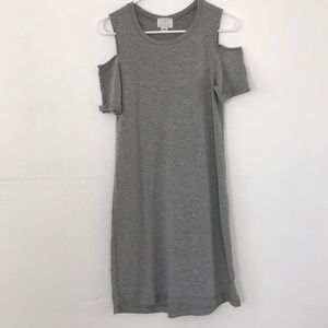 soft tee shirt dress with shoulder cutouts
